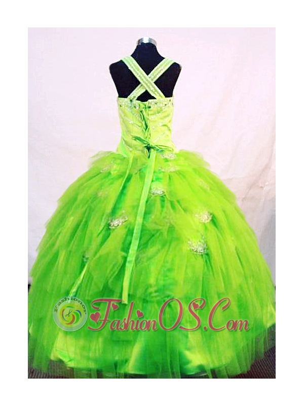 Tulle Elegant Straps Green Organza Beading Little Girl Pageant Dresses