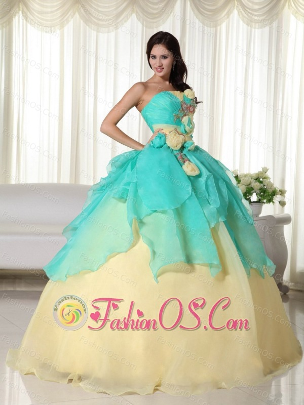 Apple Green and Yellow Ball Gown Strapless Floor-length Organza Beading Quinceanera Dress