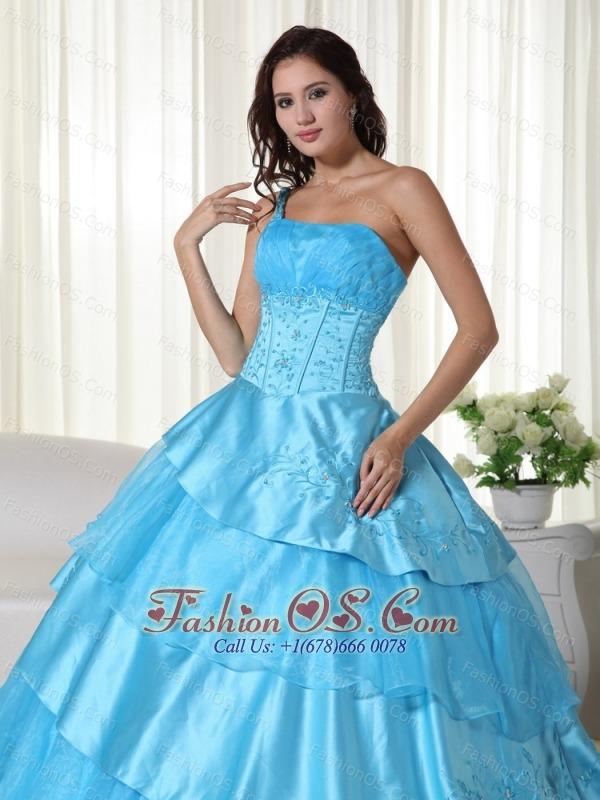 Aqua Ball Gown One Shoulder Floor-length Organza Beading Quinceanera Dress