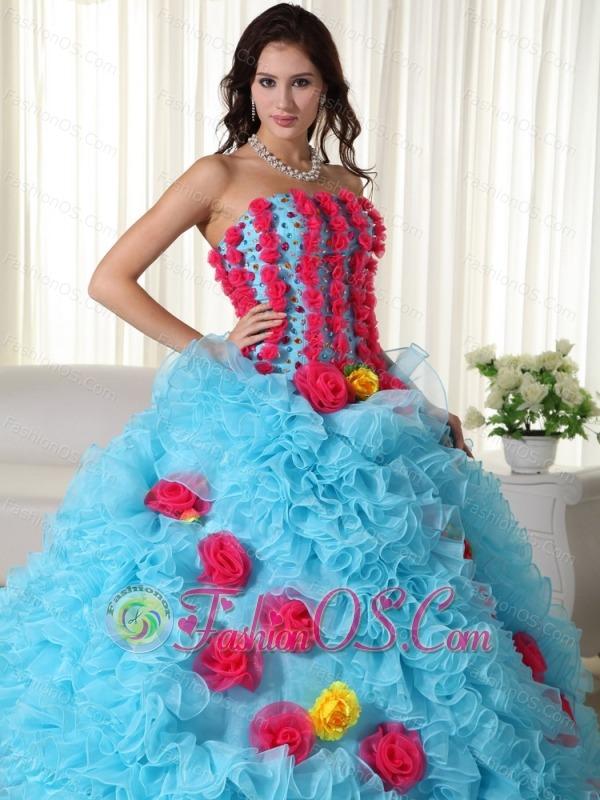 Aqua Ball Gown Strapless Floor-length Organza Beading Quinceanera Dress