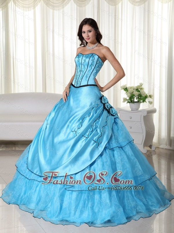 Aqua Ball Gown Strapless Floor-length Organza Beading Quinceanera Dress