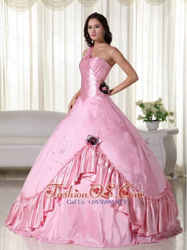Baby Pink Ball Gown One Shoulder Floor-length Taffeta Beading Quinceanera Dress