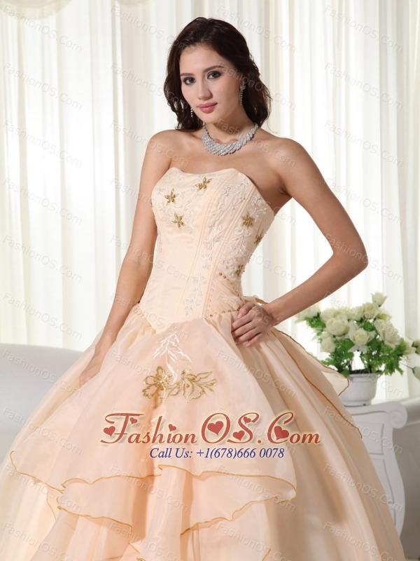 Champagne Ball Gown Strapless Floor-length Organza Embroidery Quinceanera Dress