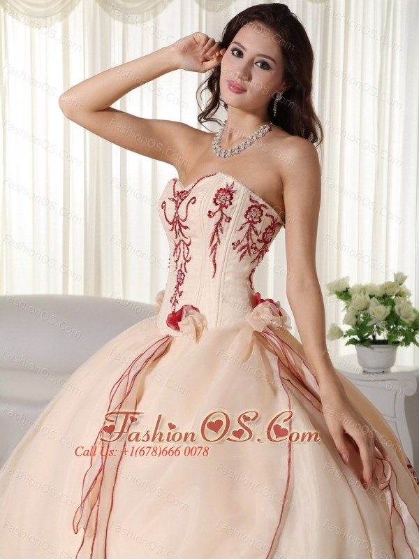 Champagne Ball Gown Sweetheart Floor-length Organza Embroidery Quinceanera Dress