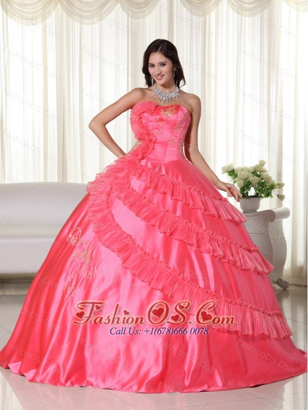 Coral Ball Gown Strapless Floor-length Taffeta Embroidery Quinceanera Dress