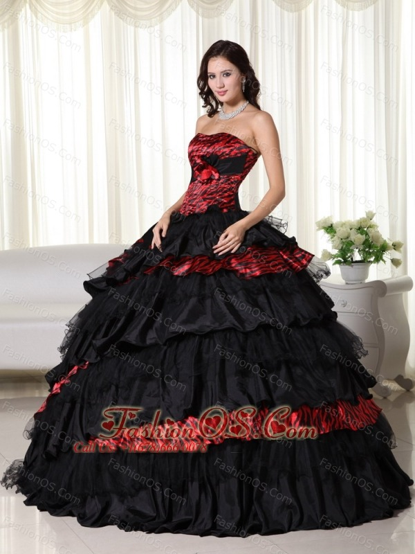 Exquisite Ball Gown Strapless Floor-length Leopard  Ruffles Quinceanera Dress