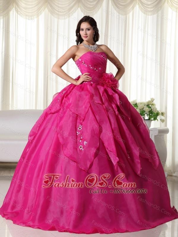 Fuchsia Ball Gown Strapless Floor-length Organza Appliques Quinceanera Dress