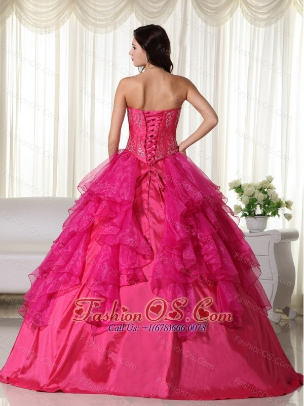 Hot Pink Ball Gown Sweetheart Floor-length Organza Embroidery Quinceanera Dress