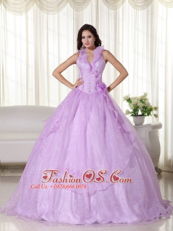 Lavender Ball Gown Halter Floor-length Chiffon Embroidery and Beading Quinceanera Dress
