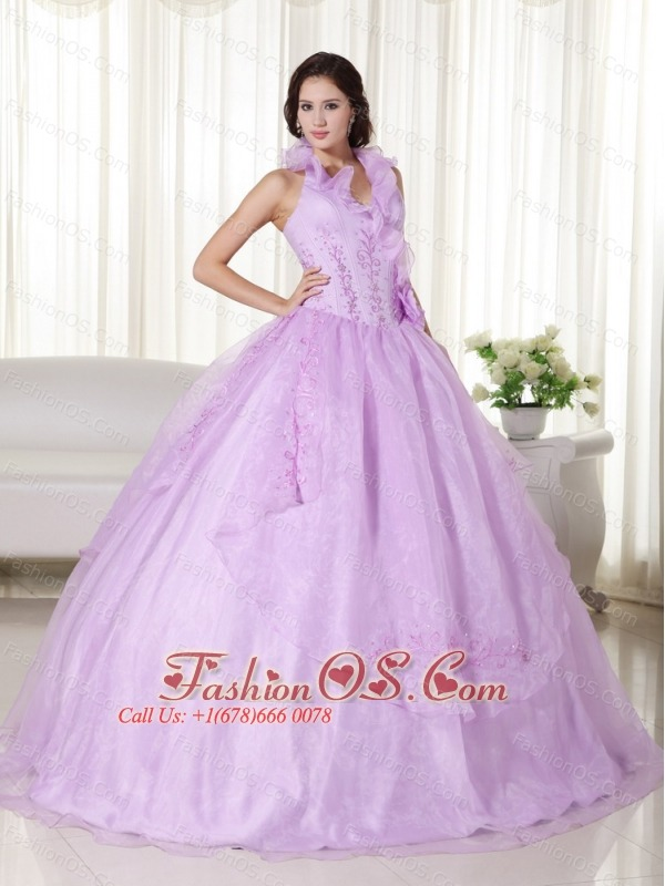 ef5aafd3c2f Lavender Ball Gown Halter Floor-length Chiffon Embroidery and Beading  Quinceanera Dress