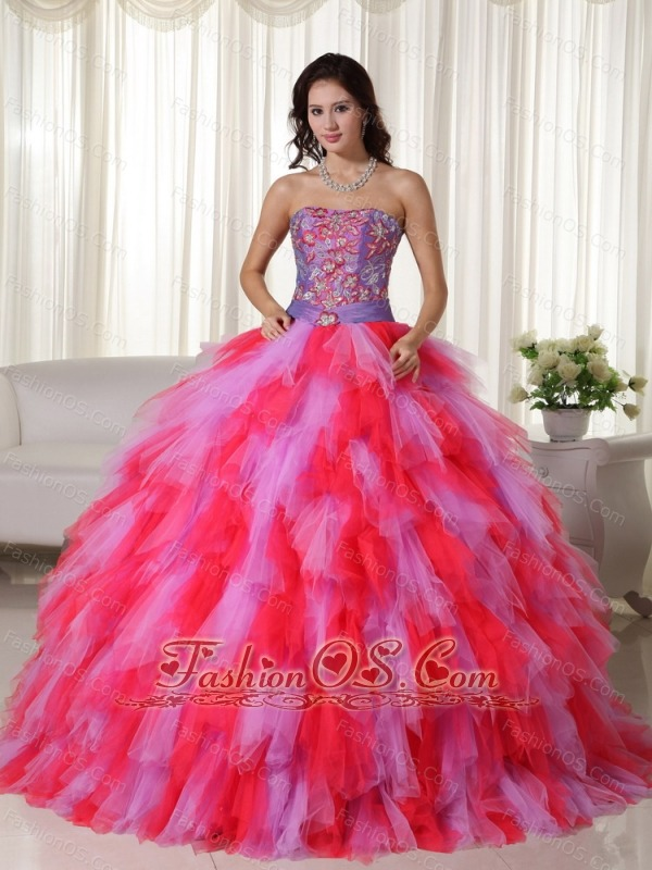Multi-color Ball Gown Strapless Floor-length Tulle Appliques Quinceanera Dress