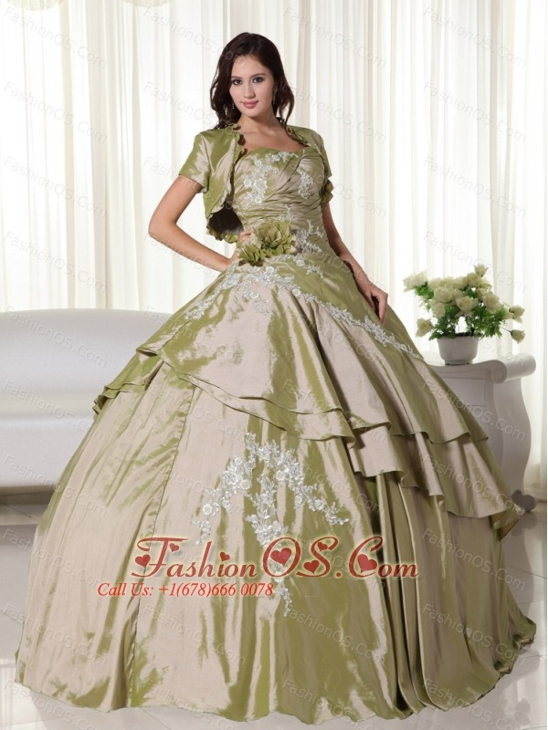 Olive Green Ball Gown Strapless Floor-length Taffeta Appliques Quinceanera Dress