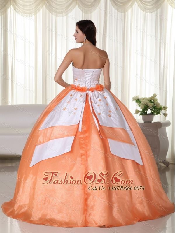Orange Ball Gown Strapless Floor-length Organza Quinceanera Dress