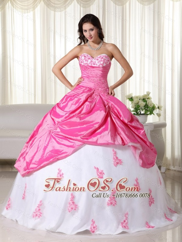 Pink And White Ball Gown Sweetheart Floor-length Taffeta Appliques Quinceanera Dress