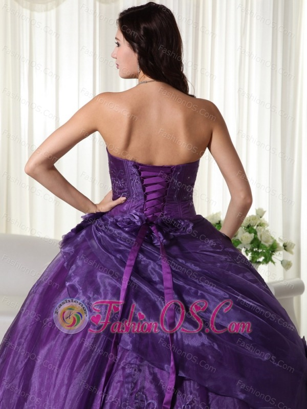Purple Ball Gown Strapless Floor-length Tulle Beading Quinceanera Dress