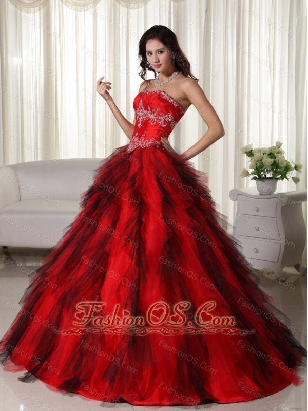 Red Ball Gown Strapless Floor-length Taffeta Appliques Quinceanera Dress