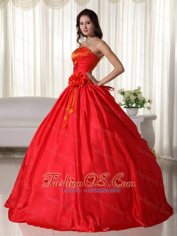 Red Ball Gown Strapless Floor-length Taffeta Ruched Quinceanera Dress
