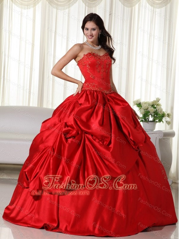 Red Ball Gown Sweetheart Floor-length Embroidery Quinceanera Dress