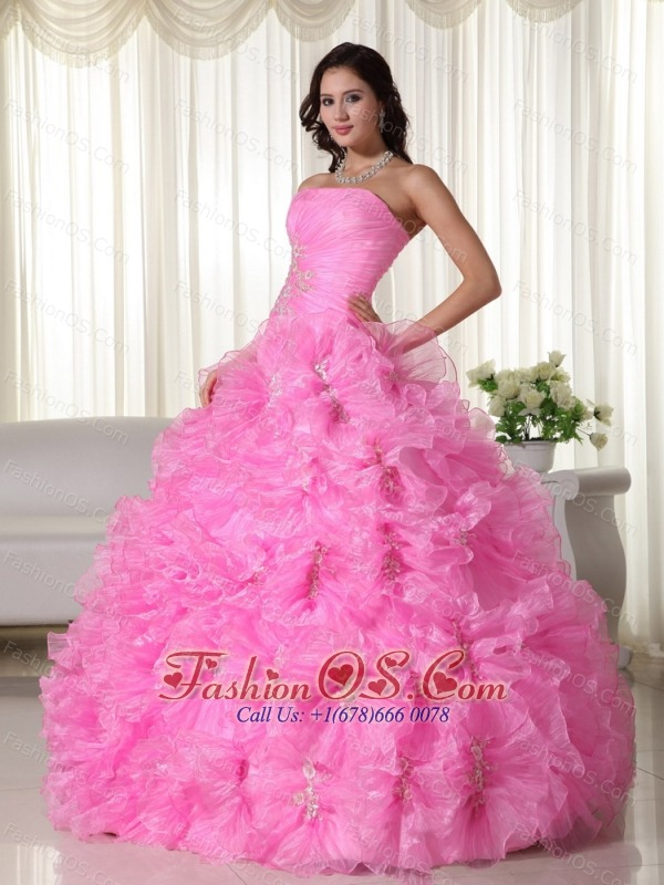 Rose Pink Ball Gown Strapless Floor-length Organza Appliques Quinceanera Dress