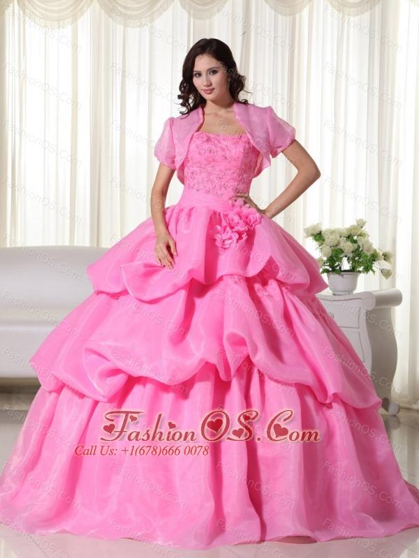 Rose Pink Ball Gown Strapless Floor-length Organza Hand Flowers Quinceanera Dress