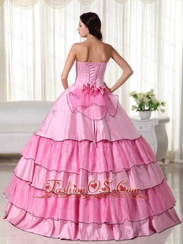 Rose Pink Ball Gown Strapless Floor-length Taffeta Beading Quinceanera Dress