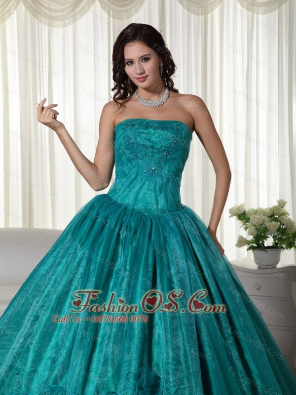 Turquoise Ball Gown Strapless Floor-length Organza Beading Quinceanera Dress