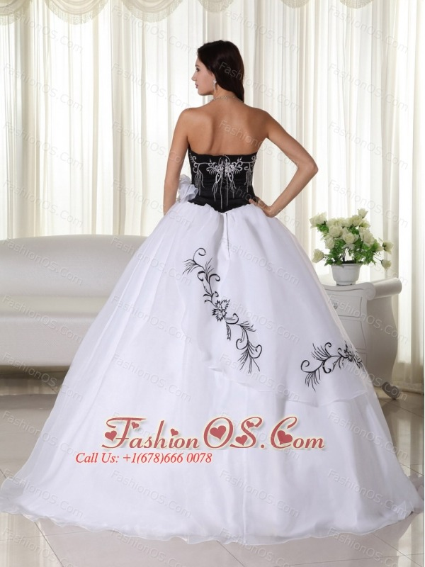 White Ball Gown Strapless Floor-length OrganzaEmbroidery Quinceanera Dress