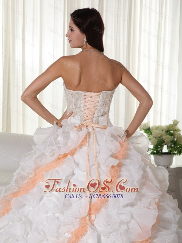 White Ball Gown Sweetheart Court Train Organza Appliques Quinceanera Dress