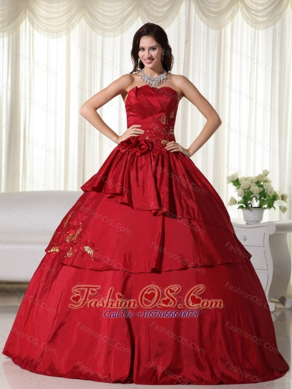 Wine Red Ball Gown Strapless Floor-length Taffeta Hand Flowers Quinceanera Dress