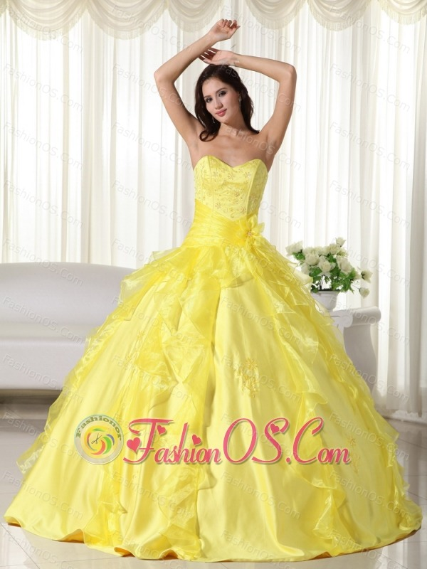1dfb74c3dd6 Yellow Ball Gown Sweetheart Floor-length Taffeta Embroidery Quinceanera  Dress