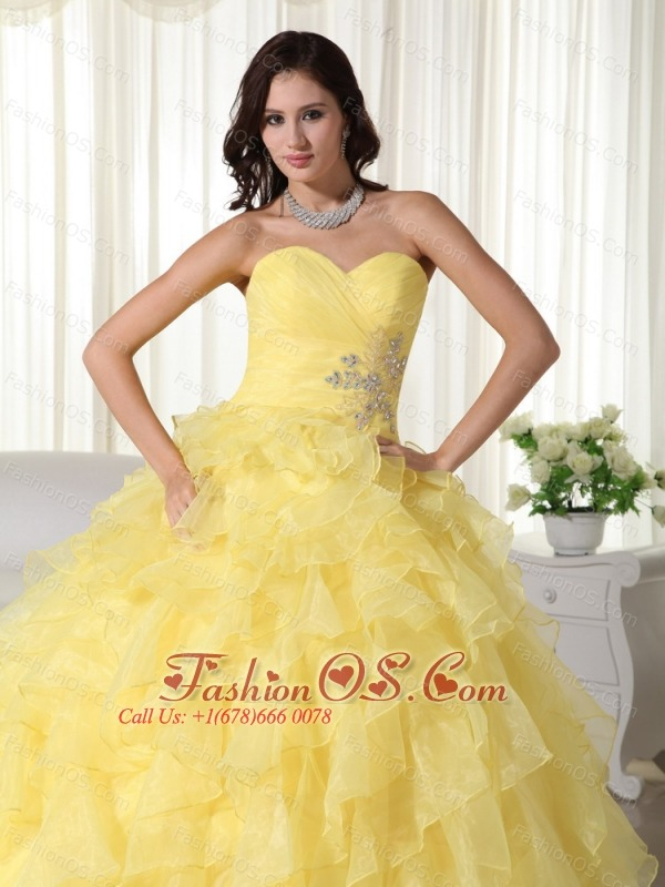 Yellow Ball Gown Sweetheart Neck Floor-length Organza Appliques Quinceanera Dress
