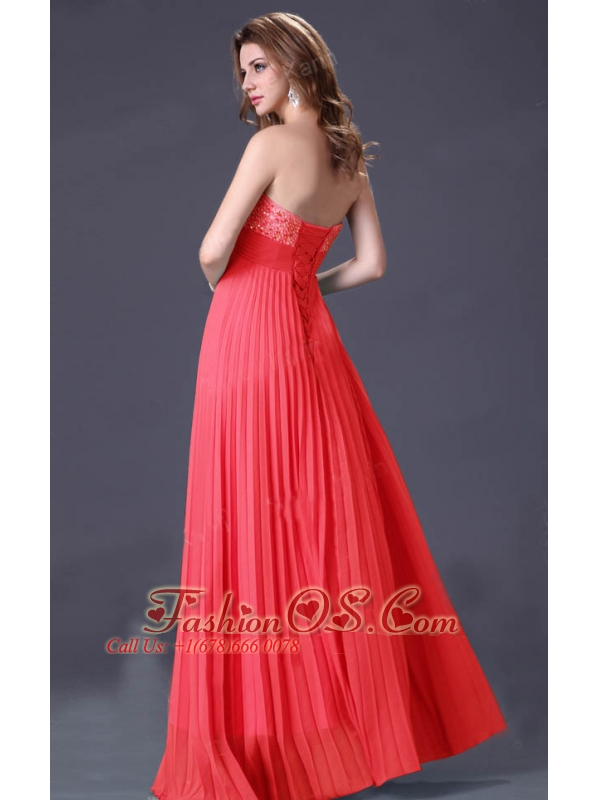Light Blue / Watermelon Red Chiffon Prom / Homecoming Dress On Sale for 2013 Party