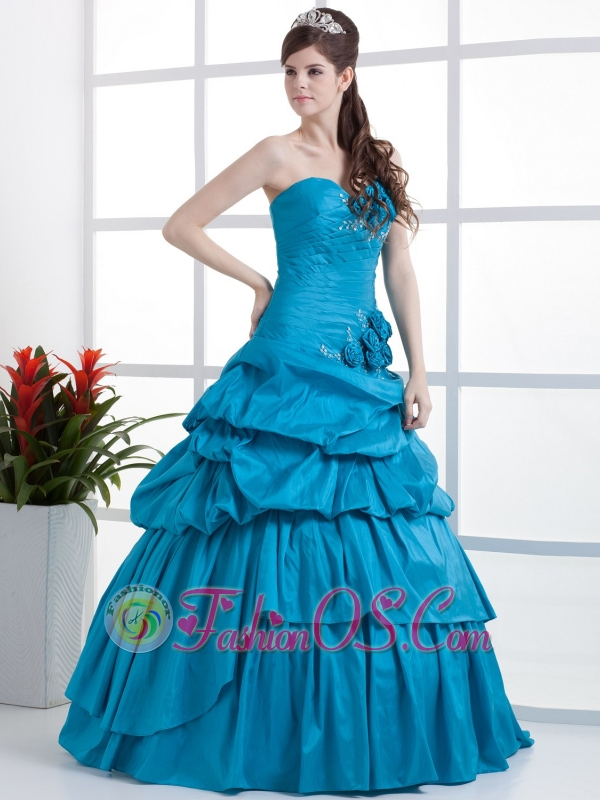 Aqua Blue Sleeveless Flowers Embroidery Ruffles Applique One Shoulder Floor Length Quinceanera Dress