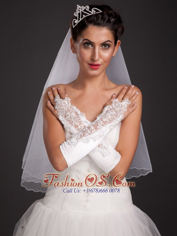 Chic Satin Elbow Length Fingerless Appliques Bridal Gloves