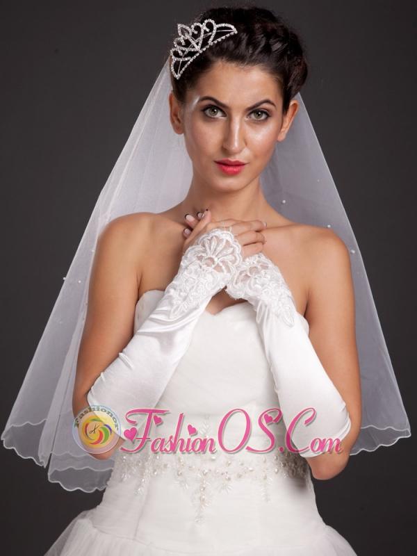 Elegant Satin Fingerless Elbow Length Appliques Bridal Gloves