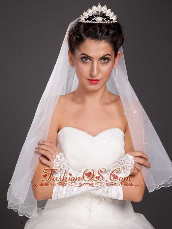 Gorgeous Satin  Elbow Length Appliques Fingerless Bridal Gloves