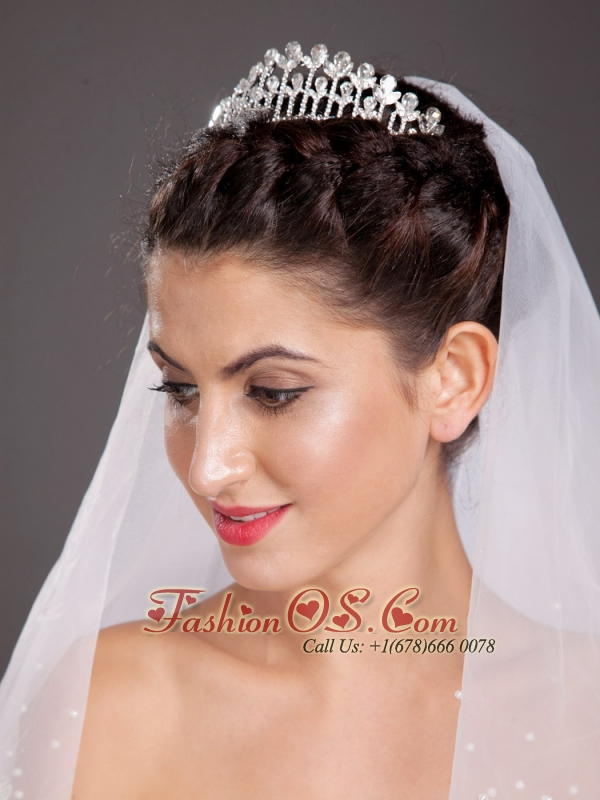 Perfect Arched Alloy Tiara With Beading Embellishes