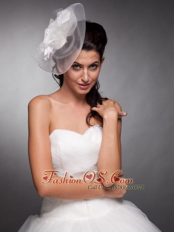 Beautiful Taffeta and Net Pearls Net Yarn Bridal Hat Headpieces