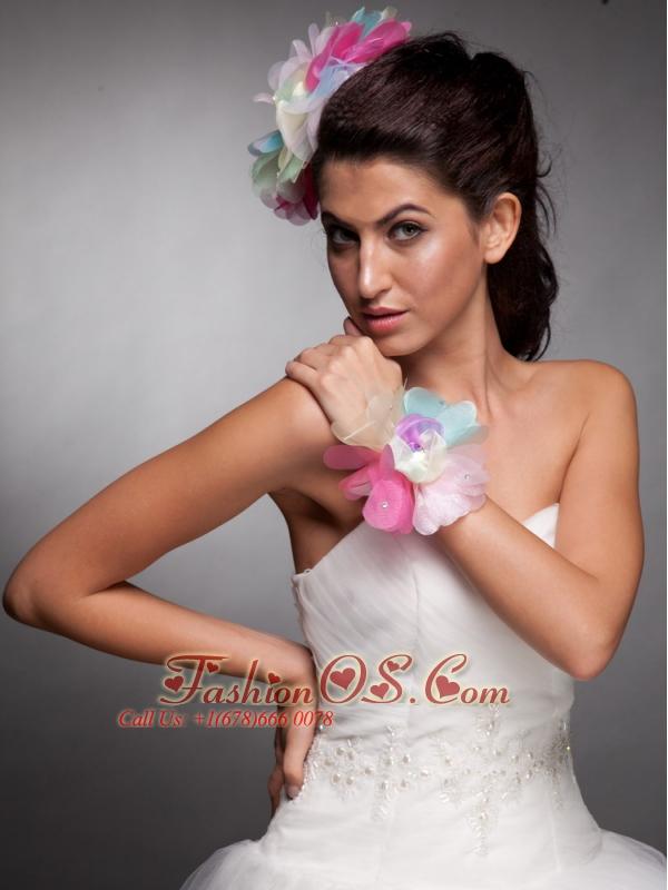 Colorful Organza Hand Made Flower Headpieces Wedding Wrist Corsage