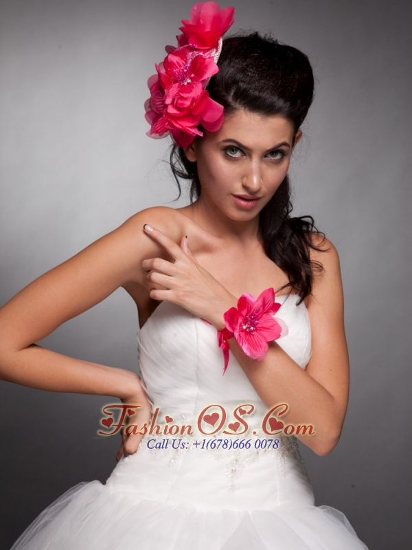 Coral Red Taffeta Hand Made Flowers Headpieces and Wedding Wrist Corsage