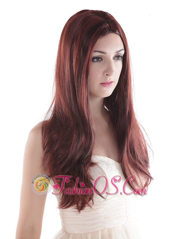 Graceful Auburn Long Silky Straight Human Hair Wig