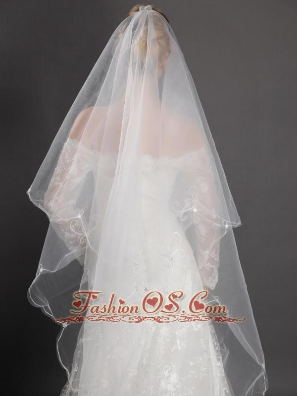 Inspired Layer Ribbon Edge Organza Bridal Veils