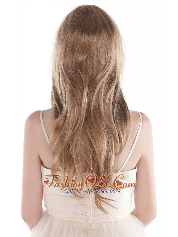 Long Blonde Human Hair Wig With Side Bang