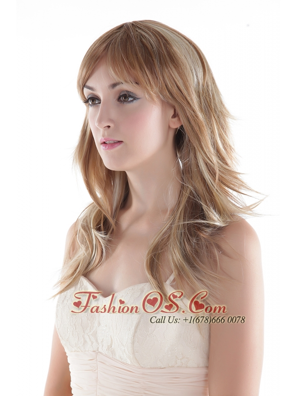 Medium Long High Quality Synthetic Blonde Straight Hair Wig