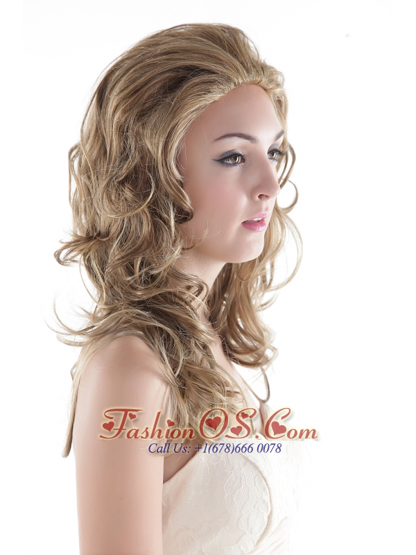 Medium Long Synthetic Flaxen Wavy Hair Wig