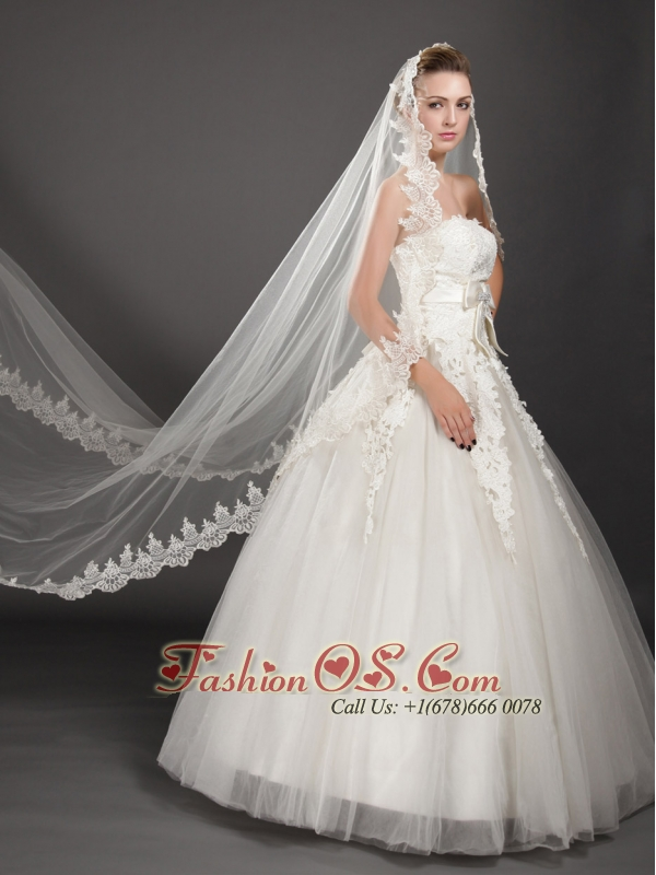 Perfect Embroidery Edge Organza Wedding Veils