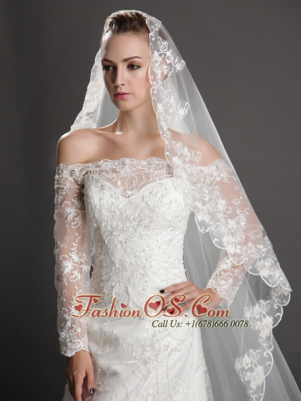 Perfect Yet Graceful Embroidery Tulle Wedding Veils