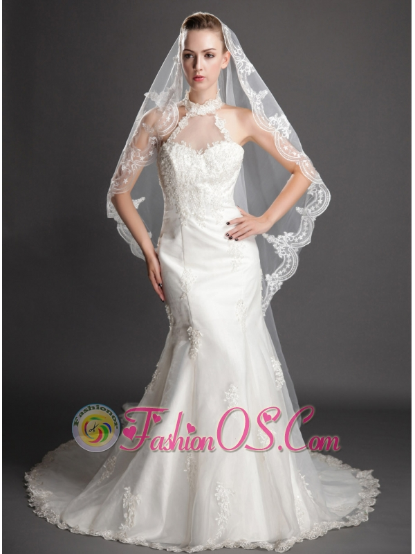 Royal Discount Tulle Bridal Veils With Lace