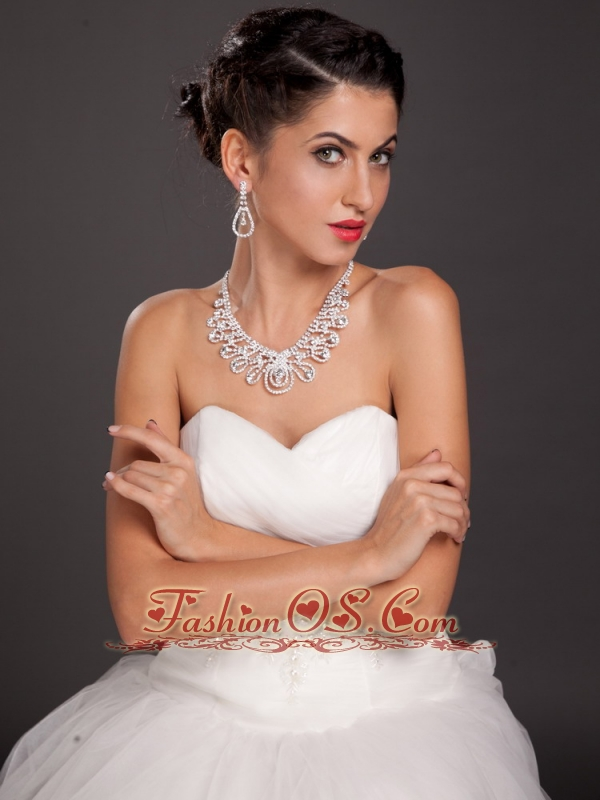 Shining Crystal Alloy Plated Wedding Jewelry Set Including Necklace And Earrings