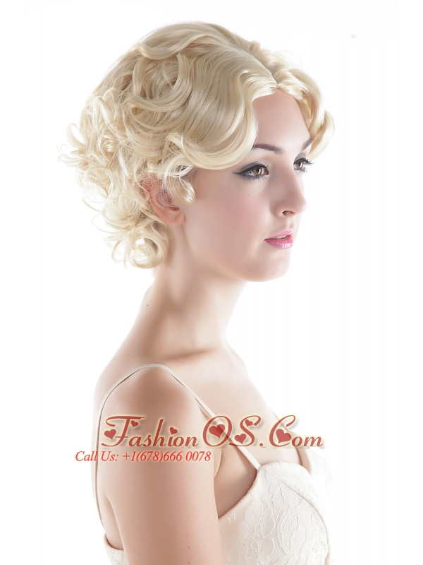 Short High Quality Synthetic Natural Look Blonde Curly Hair Wig